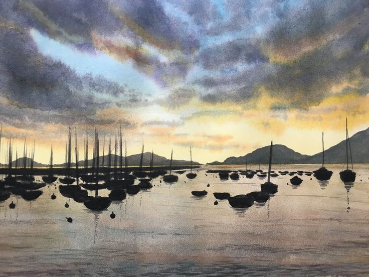 Watercolor painting of Lerici, sunset
