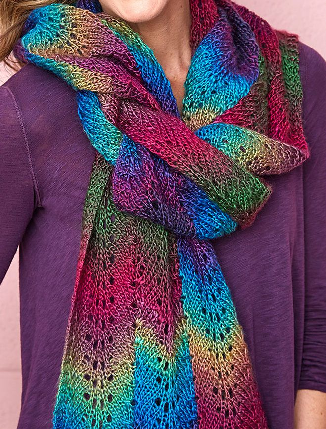 Free Knitting Pattern for 4-Row Repeat Bargello Scarf - This easy lace scarf is knit with an easy 4-row repeat with three columns of color. Designed especially for multi-color yarn by Patty Nance for Red Heart. tba easy 4-row repeat