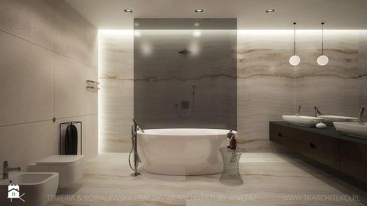 dom jednorodzinny - Duża łazienka jako salon kąpielowy bez okna, styl nowoczesny - zdjęcie od TK Architekci