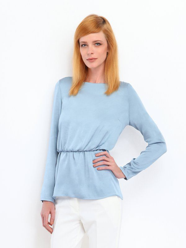 Bluzka damska bluzka długi rękaw niebieska  - SBD0212 luźna, taliowana, z marszczeniami - TOP SECRET - Odzieżowy sklep internetowy TOP SECRET