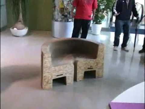 Flexible Folding chair/sofa can hold up to 2000 lbs and is made of completely out of recycled wood and paper. Video: He Grabs Onto This Weird Chair. When He Pulls On It, That's When The Magic Begins. | Sun Gazing