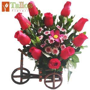 Arreglos Florales | Florerias en Lima Peru | Flores en Lima, Enviar Rosas | Floreria Tallos | Corazón en carretita
