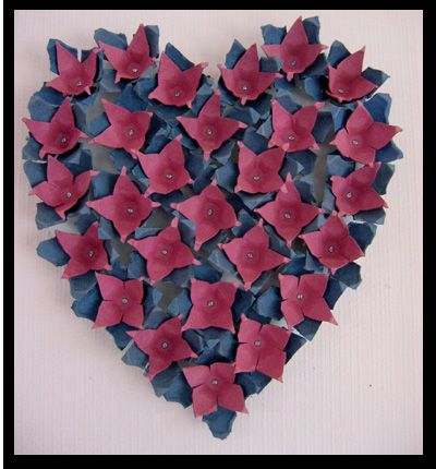 Egg Carton Heart Flower Shapes Cut From Egg Trays Attached With