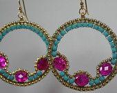 Ägyptische Gypsie goldene Göttin Beaded Creolen Ohrringe Blau Rosa Türkis Fuschia Sommer Frühling Licht fun sexy hip böhmischen Clip am