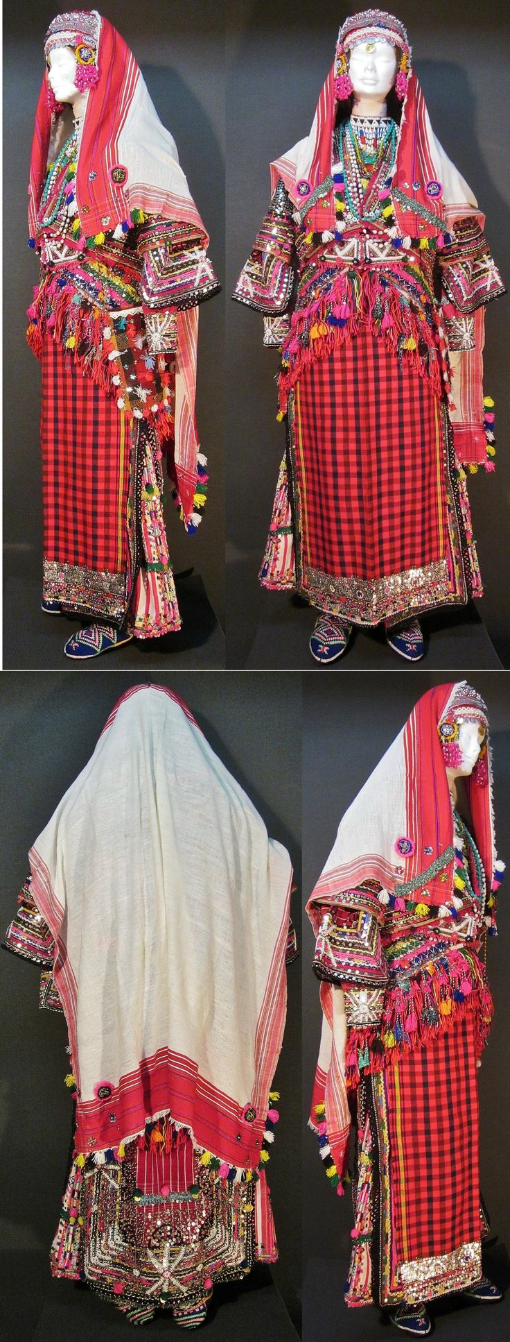 A traditional festive costume for (not yet betrothed) young women. From Pomak villages near Biga (Çanakkale prov.). Mid-20th c.  In recent years, this setting ('B') is commonly used : 1) the triangular waist cloth is worn on the backside, with its endings on top of the apron; 2) the white head scarf is worn loosely on top of the hat, hiding the adorned 'imitation hair' (black cotton plaits, falling down on the back). (Kavak Costume Collection - Antwerpen/Belgium).