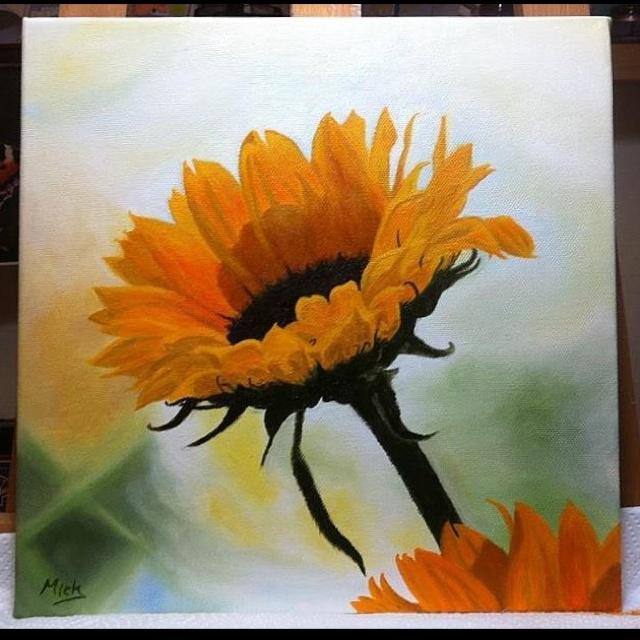 Sunflower. Original oil on canvas