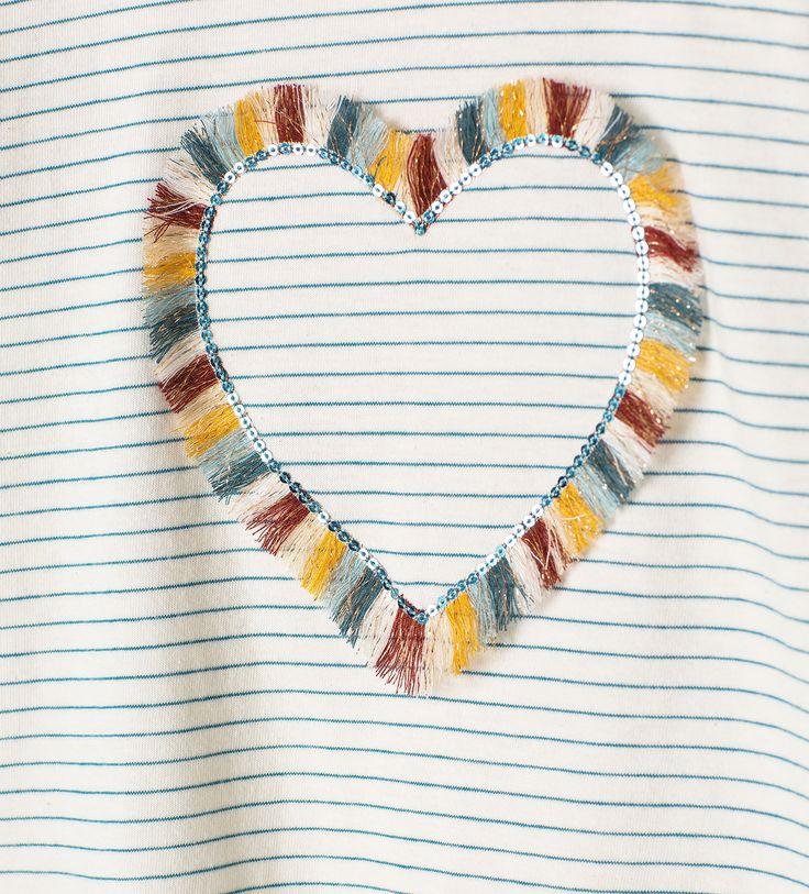 Striped heart T - shirt - View all - T - shirts - Girl - Kids   4 - 14 years - KIDS   ZARA United States