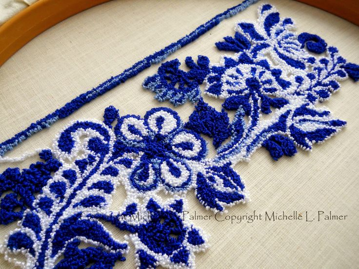 "Michelle Palmer: ""Flow Blue Skeps"" punch needle"