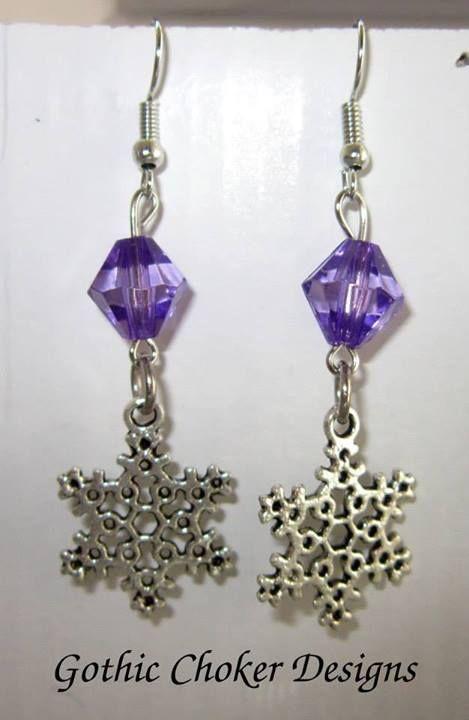 Snowflake and purple bead earrings.  R50
