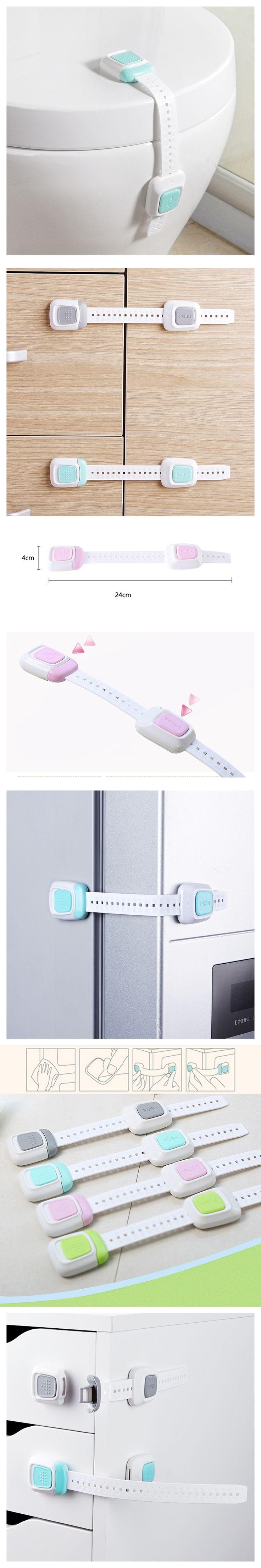 8Pcs Multi-function Double Button Children's Security Lock Baby Protective Equipment Anti-folder Hand Refrigerator Lock