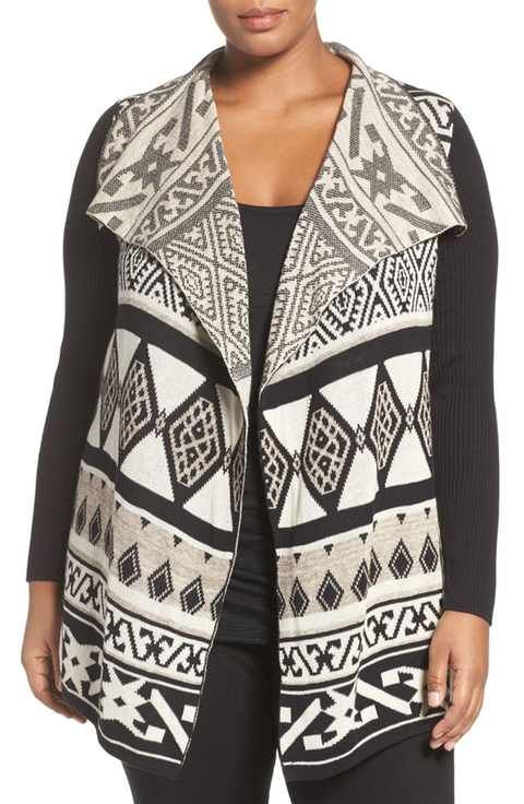 Lucky Brand Drape Front Cardigan (Plus Size)