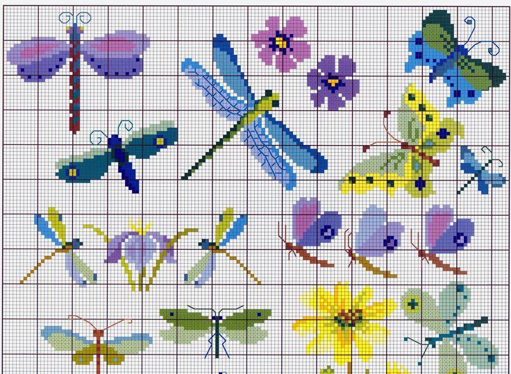 Butterflies & dragonflies cross stitch - schemat7.jpg 3,247×2,378 pixels