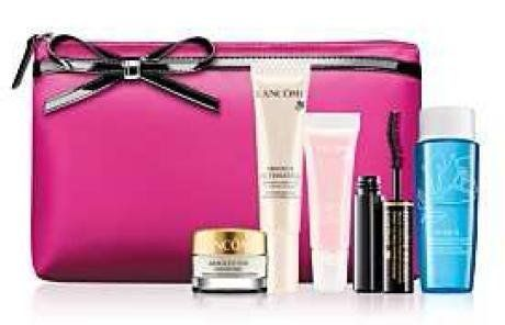 Lancome NEW! 2012 6-piece Beauty Skin Care Travel Gift Set: Absolue Ultimate Bx Replenishing and Restructuring Serum + Absolue Eye Premium Bx Absolute Replenishing Eye Cream + Hypnose Drama Instant Full Body Volume Mascara in Black + Bi-Facil Double-Action Eye Makeup Remover + Juicy Tubes Ultra Shiny Lip Gloss + Pink Cosmetic Bag (A .... $59.99