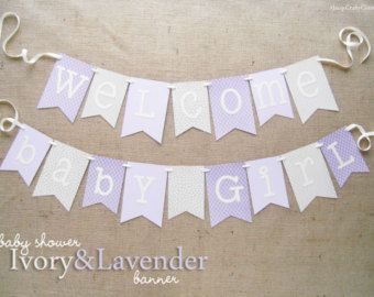 Pink and Gold Baby Shower Banner  Welcome Baby Girl by JacqsCraftyCorner | Etsy