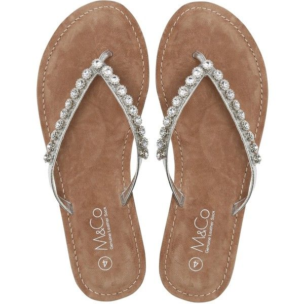 M&Co Diamante Flip Flop ($34) ❤ liked on Polyvore featuring shoes, sandals, flip flops, silver, diamante sandals, silver evening sandals, silver sparkly shoes, holiday shoes and evening sandals
