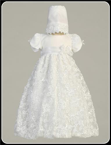 White Satin Baby Girls Baptism Dress w. Floral Ribbon Design & Bubble Hem