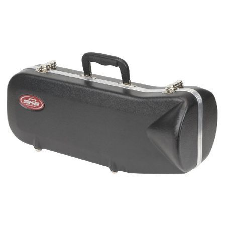 SKB Contoured Trumpet Case The SKB Contoured Trumpet Case is a highly-durable transport case designed to acommodate most standard trumpet styles. The case features an EPS foam interior with plush lining to keep your instrument  http://www.MightGet.com/january-2017-11/skb-contoured-trumpet-case.asp