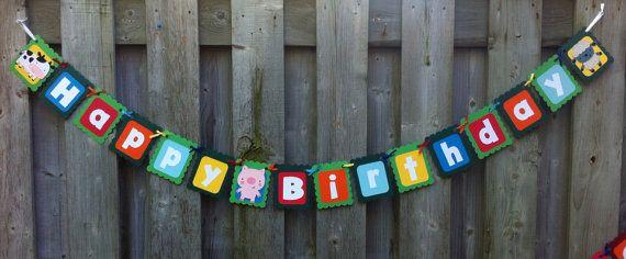 Farm Theme Happy Birthday Banner Barnyard by LittleMissStarchick, $22.00