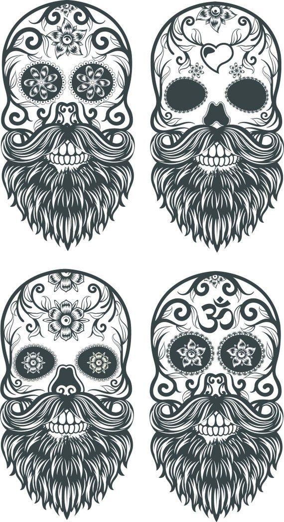 4 X Mexican Sugar Skull Design Bundle Skulls With Tattoos Svg Eps Dxf Psd Png Jpg Printable Clip Art Cricut File Silhouette Skull Svg In 2021 Sugar Skull Design Skull Tattoos Skulls Drawing