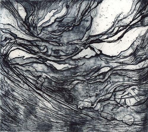 Aritst: N Bao-Ling. Title: Night Sky II. Year: 2005. Description: Etcing & Aquatint 11.5 x 13.2cm.