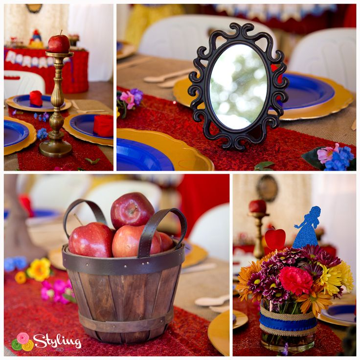 Snow White Centerpiece and props www.stylingthemoment.com www.facebook.com/stylingthemoment