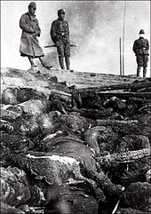 Nanking Massacre - Bodies of Chinese massacred by Japanese troops along a river in Nanjing.