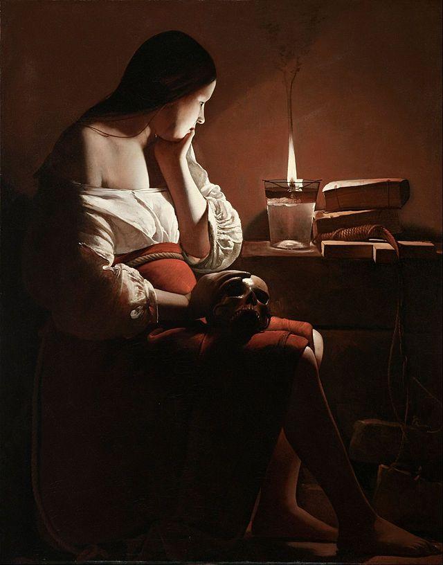 La Madeleine à la flamme filante de Georges de La Tour (1640) est une œuvre invitant le spectateur dans l'intimité de la méditation et de la réflexion sur soi. La Madeleine est représentée assise, le visage plongé dans la contemplation d'une flamme, l'expression grave et le menton soutenu par la paume de sa main. Sa condition de femme pècheresse est indiquée par sa tenue largement décolletée.