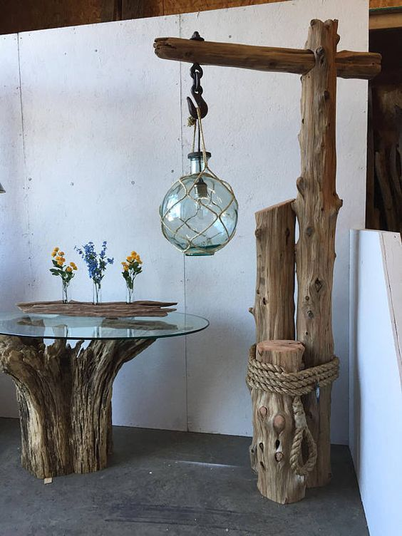 Nautical cedar wood floor lamp is part of Driftwood lamp - Nautical cedar wood floor lamp Driftwood Flooring, Driftwood Furniture, Driftwood Lamp, Driftwood Crafts, Log Furniture, Wood Floor Lamp, Wood Lamps, Diy Home Decor, Room Decor
