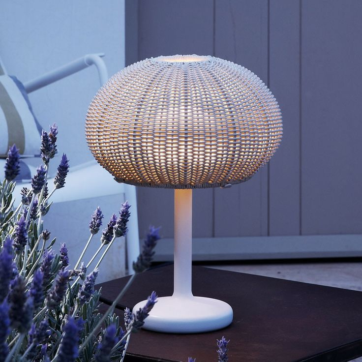 The Garota Outdoor Table Lamp features a handwoven fiber shade inspired by the outline of Mediterranean sea urchins. http://www.ylighting.com/bover-garota-outdoor-table-lamp.html #YinTheWild