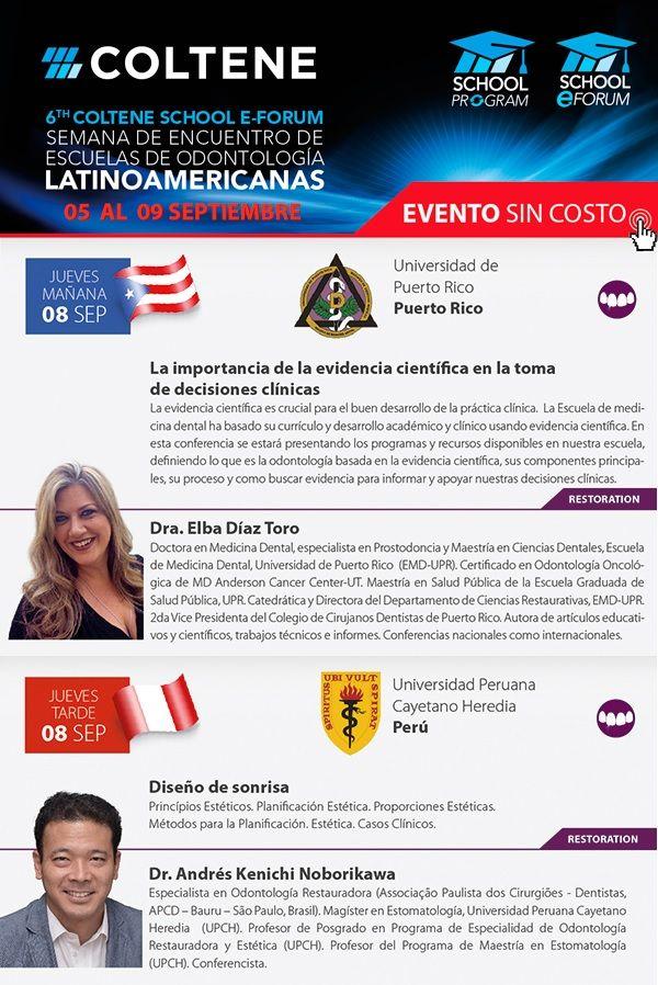 HOY !! 8 de septiembre  •Dra. Elba Díaz Toro  La importancia de la evidencia científica en la toma de decisiones clínicas  •Dr. Andrés Kenichi Noborikawa Kohatsu Diseño de sonrisa   INSCRIBITE ONLINE  Dra. Elba Díaz Toro: https://attendee.gotowebinar.com/register/8746587887838502402 Dr. Kenichi Noborikawa Kohatsu: https://attendee.gotowebinar.com/register/6375259065586137858