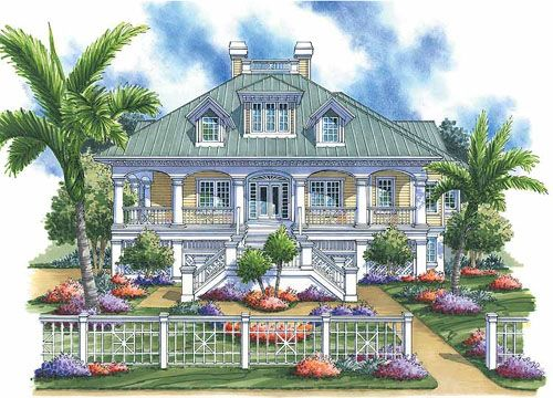Attractive Large Key West Style Home Similar To A Plantation House. Floor Plans  Included.
