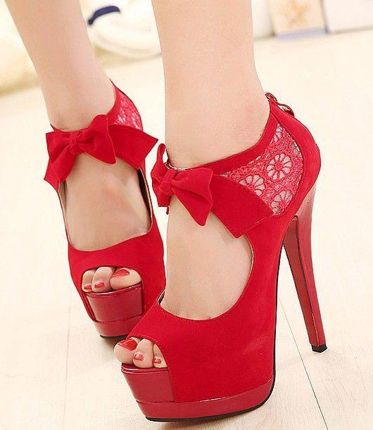 Zapatos De Tacon Rojos Con Moños