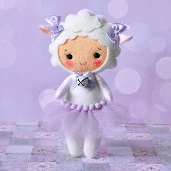 Felt sheep doll, Cute girl costume sheep, Easter sheep decoration ornament,  Handmade Felt Doll, Decorative lamb doll