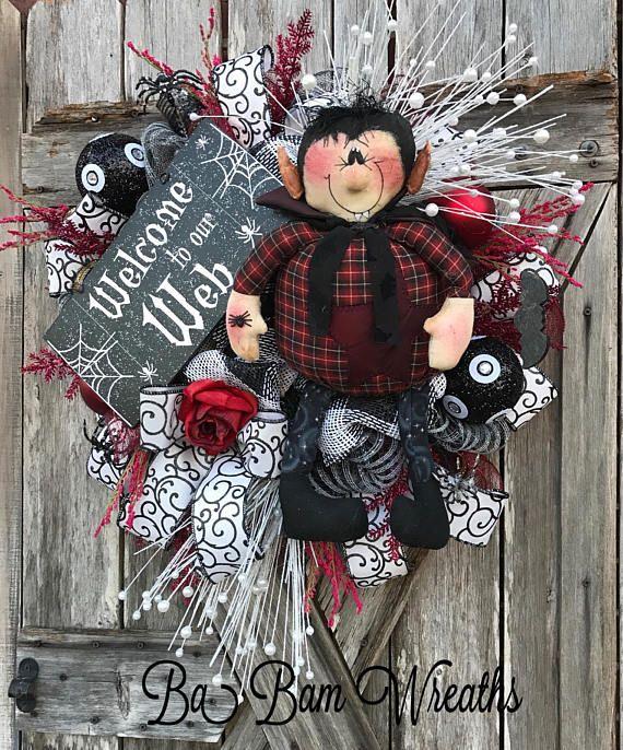 Halloween Mesh Wreath Vampire Wreath Halloween Wreath