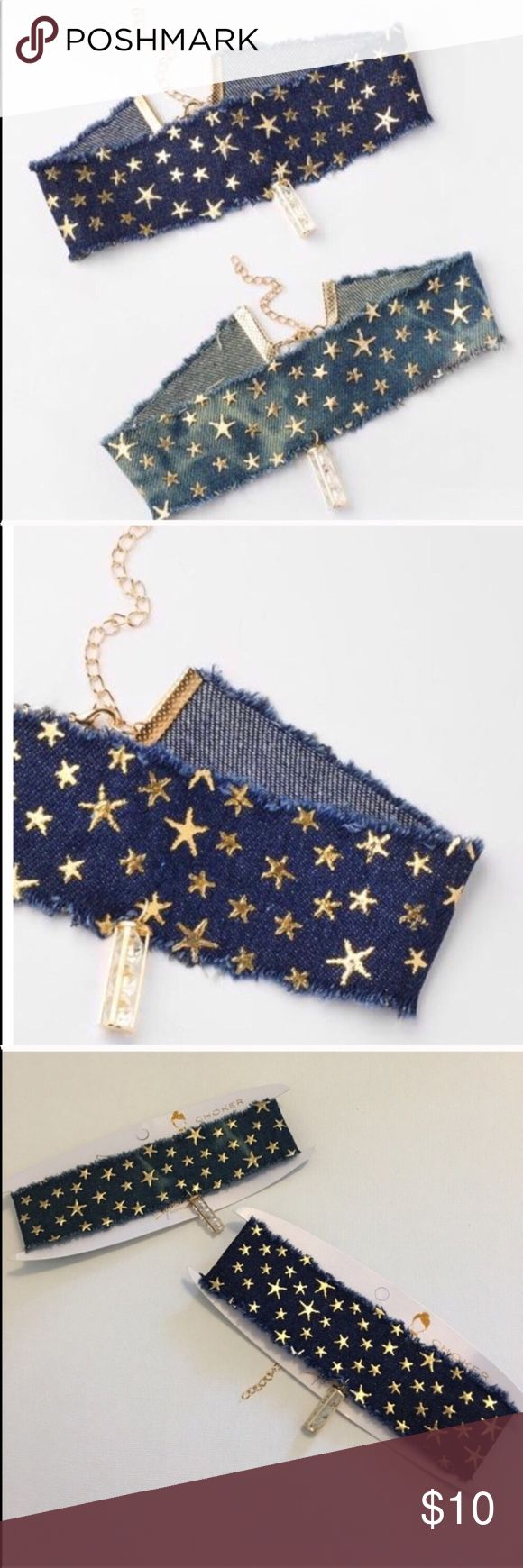 • Star Denim Gemstone Choker • Super trendy and fun wide denim choker with all-over gold star pattern and unique triple gemstone pendant. A cool finishing touch to a stylish casual or going out look! Features adjustable chain and lobster clasp closure • NWOT Boutique • listing is for 1 Choker  • Offers Welcome • Bundle Discounts  • Suggested User • Fast Shipper Jewelry Necklaces