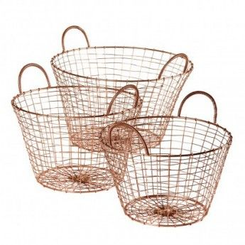 Copper Fishing Baskets (set of 3)