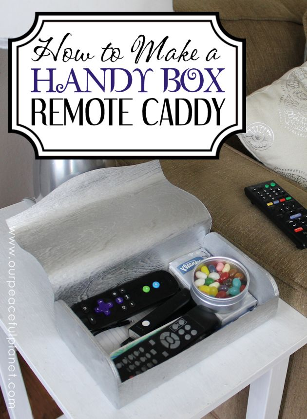 Keep things organized and at your fingertips by making a simple living room handy box remote holder. We used a $4.00 box from the local craft store.