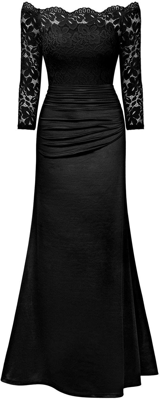 c56f7d3da Miusol Vintage Encaje Fiesta Noche Largo Vestido para Mujer Negro X-Large   Amazon.