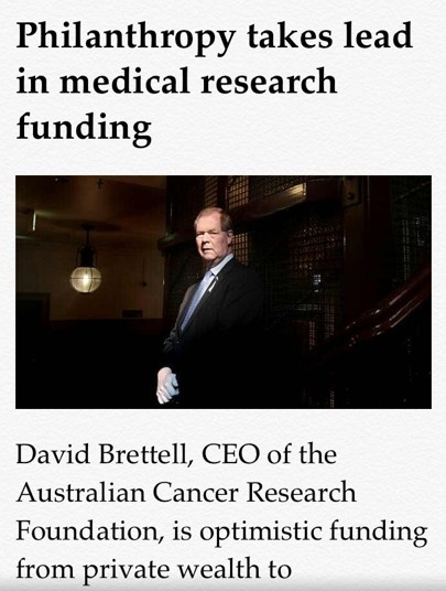ACRF Chief Executive, David Brettell, featured in the Australian Financial Review discussing the importance of private philanthropy. http://acrf.com.au #cancerresearch #cancer #philanthropy #fightingcancer #cancerfundraising