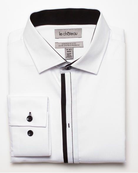 Slim Fit Piqué Shirt White/Black $69.95