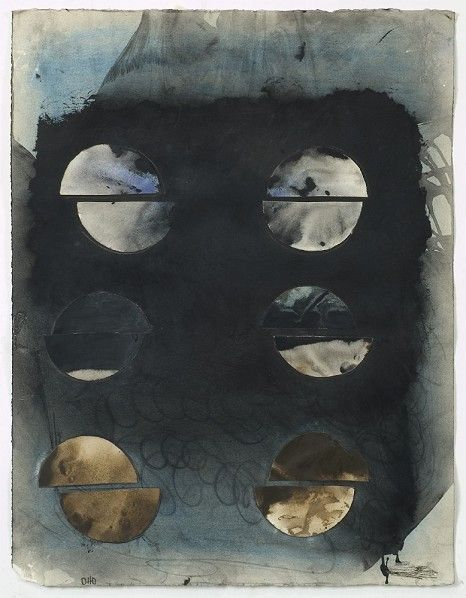 "Otto Rogers, ""Six Moon Views"", mixed media on paper"