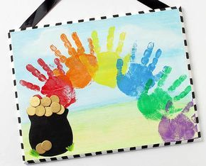 Cool Rainbow Plaque Craft from Roundup of 19 Amazing St Patricks Day Crafts for Kids on OneCreativeMommy.com