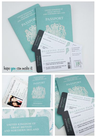 Passport wedding invites in my facve colour. Get these beauties from jill@hopeyoucanmakeit.co.uk available any colour totally personalised. Will ship worldwide x