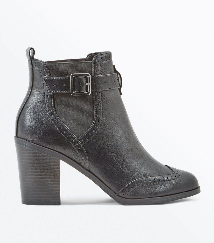 Black Buckle Side Block Heel Brogue Boots | New Look