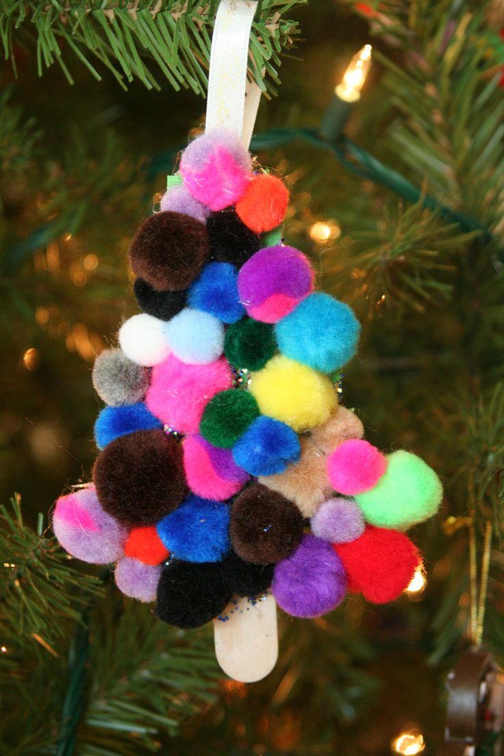 Pom-pom & craft stick Christmas tree...