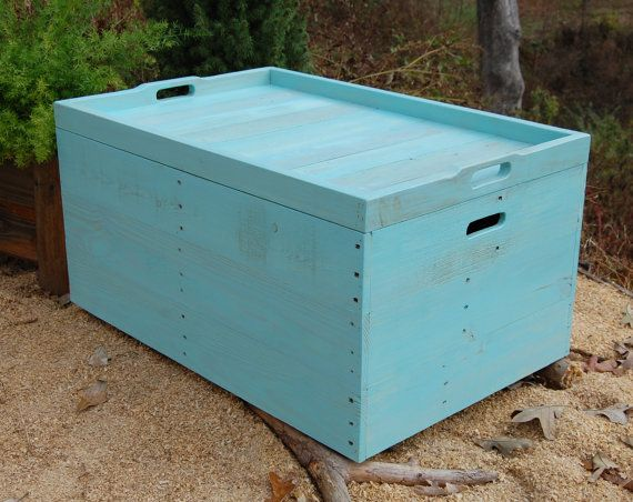 """Turquoise Coffee Table, Reclaimed Wood, Wooden Crate Coffee Table, Serving Tray  $220  34""""x22""""x17"""""""