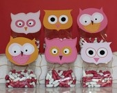 Printable Owl Favor/Treat Bag Toppers- Owl Sherbet Collection (pink and orange)