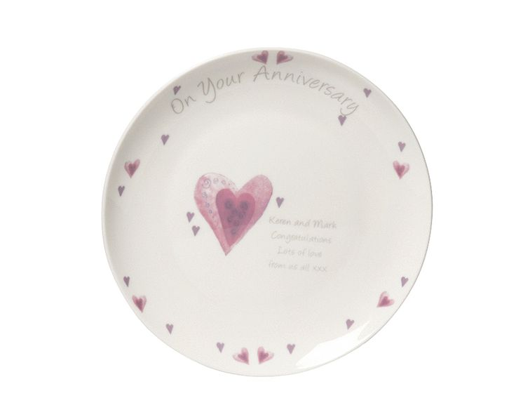 Personalised Hearts Anniversary Plate £20  The perfect gift for any anniversary. 20.5cm bone China plate, beautifully decorated with hearts. 'On Your Anniversary' is pre printed, personalise with any message up to 4 lines. Max. 30 characters per line. Please enter personalisation in proper case avoiding using block capitals unless block capitals are required & accepted as the personalisation style in the product description.  Code: 788660  KLife Kleeneze