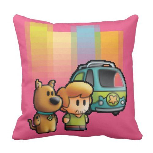 Digi Scooby-Doo, Shaggy, and Mystery Machine Throw Pillow