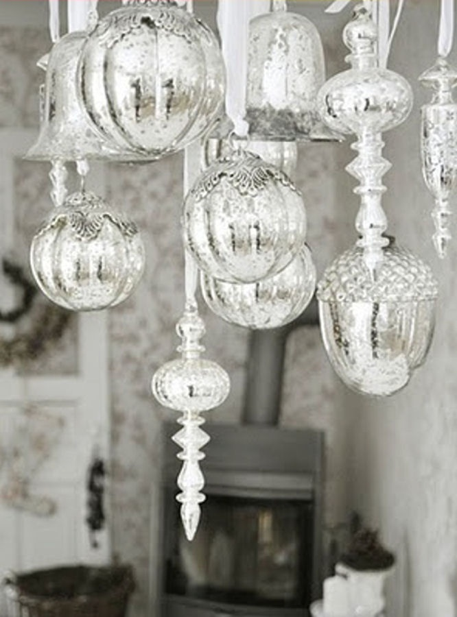 8 best images about inspiring silver on pinterest for Hanging ornaments from chandelier